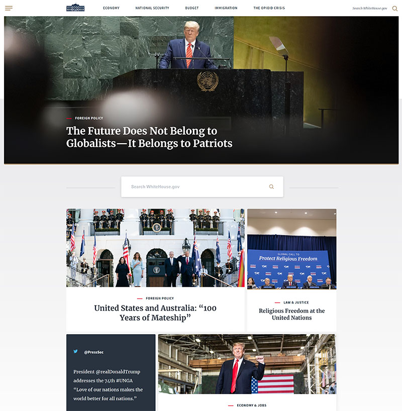 Wordpress vs custom cms. Whitehouse website